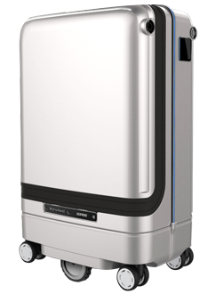 SR3 smart suitcase can auto-follow user, avoid obstacle and charge electronics.